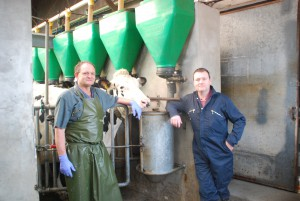 Stephen Bone (right) with herdsman Nigel Mountstephens (left)
